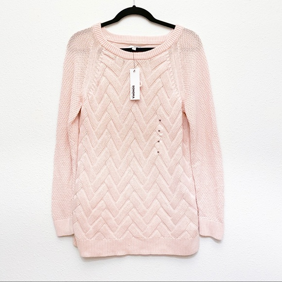 Sonoma Cable Knit Blush Pink Sweater NWT New